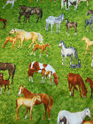 Horses Mares Dams & Foals in Pasture fabric  Henley Studios UK 3 1/3 yds cotton