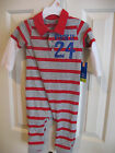 Okie Dokie12 mos one piece coverall - red and grey  NWT