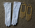 Vintage Hand Beaded Long Ivory Gloves Women Ladies with Glove Stretchers Wedding