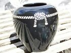 RARE BLACK CHINESE ASIAN VASE POTTERY SIGNED ROPE DESIGN 6