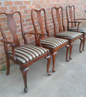 SET 4 VINTAGE KLING FURNITURE COLONIAL MAHOGANY FORMAL DINING CHAIRS 2 ARM SIDE