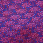 """Floral Print Blue Fabric 44"""" Wd 100% Cotton Crafting Dress Material By 1 Yd"""