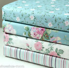 Lot of 4 Fat Quarters Stripe Floral 100% Cotton Fabric Blue Sewing Craft s-197