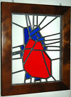 HUMAN HEART STAINED GLASS WINDOW ART PANEL HANGING WOOD FRAMED