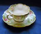 CRESCENT & SONS CHINA  CUP SAUCER ENGLAND PINK FLORAL ON GREEN w GOLD TRIM