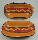 2 Clay Art Hot Dog Ceramic Hand-painted Condiment Bowl Dish Plate EUC