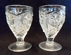 4 Antique STAR & FILE Pattern Glass WINE GLASSES Stems Imperial EAPG