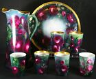 Antique Beautiful Limoges  Tankard Pitcher W /6 Glasses and Tray Hand painted