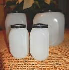 Hoosier Glass Clambroth Canister Jar & Salt & Pepper Shakers~VGC~Fast Shipping!