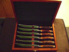Antique English James Dixon Ornate Stag Horn Knife Cutlery Set w/ Wood Case
