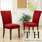 Tribecca Home Parson Cranberry Red Dining Living Room Office Chairs Set of 2