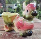 VINTAGE HULL PLANTER FEATURING ROSE PINK & GREEN PARROT PULLING CART