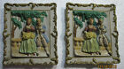 2 Vintage Porcelain Wall Hanging Set Victorian Couple - Occupied Japan