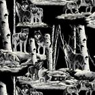 Grey Wolves Wolf Night Wildlife Nature Fleece Fabric Print by the yard a36458b