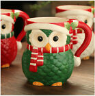 Christmas Owl 3D Coffee Cappuccino Mug Ceramic Red Green White Mug Super Cute