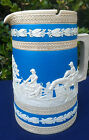 ANTIQUE COPELAND BLUE JASPERWARE HUNT SCENE CREAMER PITCHER CIRCA 1847-50 MARK