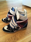 AUTHENTIC ISABEL MARANT WILLOW HIGH TOP BLACK RED BLUE WEDGE SNEAKER SZ 40/ SZ 9