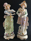 Pair of large vintage porcelain figurine victorian courting couple woman man 12