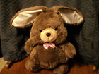 Brown Easter Bunny Rabbit Plush with pink satin bow and cream satin ears