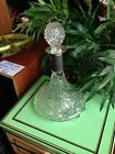 Vtg GLASS Crystal Boat SHIP DECANTER Old Bottle SILVER Plated RIM Shearton Nice!