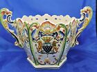 Antique French Faience Mont Saint Michel, Fait Main Twin Handled Jardiniere
