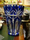 MAGNIFICENT RARE OUTSTANDING LOVELY ETCHED BOHEMIAN COBALT BLUE CRYSTAL VASE!!!!