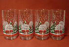 Set of 4 Libbey Christmas/Winter Tumblers w/Green Pine & White Trees,Snow, 14oz.