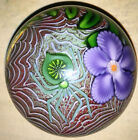 Orient and Flume Cased Studio Art Glass Spider on Web Paperweight Purple Flower