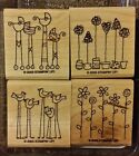 Stampin Up SIMPLE SOMETHINGS Set 4 Mounted Rubber Stamps Lot Baby Bird Flower