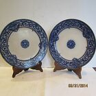 A matched pair of English Staffordshire Plates by DOULTON – BURSLEM Blue Gilt