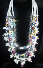 Vintage Massive Millefiori Murano Glass AB Crystal Blue Bell Necklace 12oz