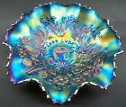 Northwood GOOD LUCK Amethyst ELECTRIC Carnival Glass Ruffled Bowl W/Ribbed Back
