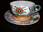 VINTAGE ANTIQUE MADE IN JAPAN OPAQUE IRIDESCENT DAINTY FLORAL CUP SAUCER SET!