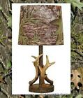 Mossy Oak Deer Antler Accent Lamp Dark Woodtone 16 W Camo Pattern Lamp Shade