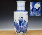 Large Perfect Chinese Porcelain B/W Rouleau Vase Ca. 1900 Figures TOP!