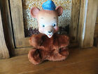 Vintage 1950's MY TOY Stuffed Plush Rubber Face Police Cop Bear Animal 8 Inch