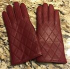 NEW Merona Womens Lined & Quilted 100% Leather Gloves BURGUNDY Medium M