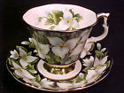 Vintage Royal Albert TRILLIUM CHINTZ on BLACK Tea Cup Saucer Provincial Flowers