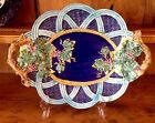 LG. ITALIAN  MAJOLICA PLATTER IN COBALT BLUE, YELLOW, PINK, GREEN RAISED DESIGN