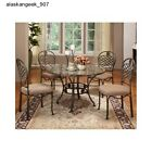 Dining Room Table Set Granite Marble Brown Round Luxury Chairs 5 Piece Steel