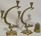 VINTAGE Solid Brass Chinese Japanese Ceremonial Dragon Candleholder 12 1/2