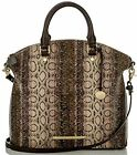 BRAHMIN DUXBURY SATCHEL VIOLET CUSCO ANACONDA SNAKE BROWN GREEN TOTE LEATHER