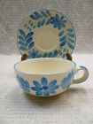 Vtg Artmark Soup Mug/Bowl Saucer Set Blue White Floral Handpainted XL Coffee Cup