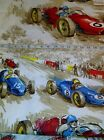 Vintage Grand Prix Race Car 100% Cotton Fabric NWT Large Print Car and Schedule