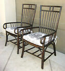 Pair Black Hollywood Regency Bamboo ARM CHAIRS Blue White Toile