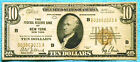 1929 $10 B New York FRBN National Currency Brown Seal Note Bill BA Block Lot #30
