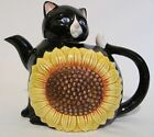 Takahashi SF Feline Pet  Japan Hand Painted Black Cat Sunflower Tea Pot Teapot