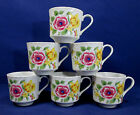 6 Seymour Mann Windsor Garden Cups for Snack Plates Floral Pink Yellow Flowers