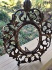 Antique Cast Metal Brass Rococo Oval Ornate Picture Frame Boho Traditional Vtg