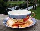 Circa 1921 Vintage Nippon Lustre Ware Orange Bird with Peach & Blue Cup & Saucer